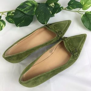 J. Crew Flats Green Suede Pointy Toe Italy SZ 7